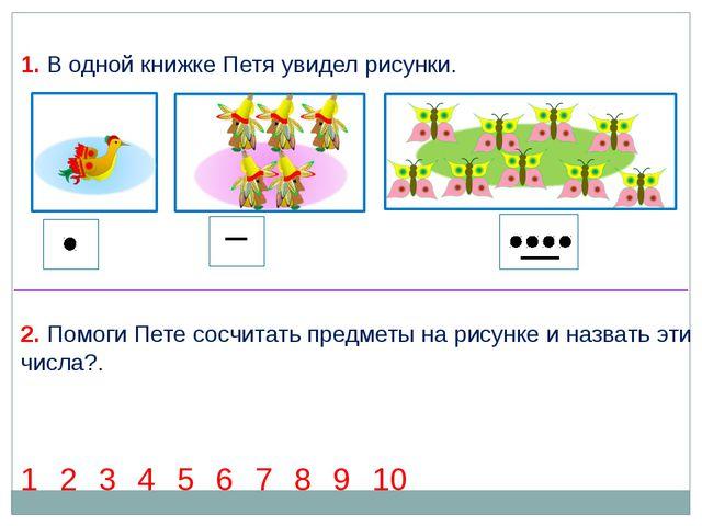 1 2 3 4 5 6 7 8 9 10 2. Помоги Пете сосчитать предметы на рисунке и назвать э...