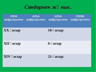 Сандармен жұмыс. РИМ цифрларымен АРАБ цифрларымен АРАБ цифрларымен РИ9М цифрл
