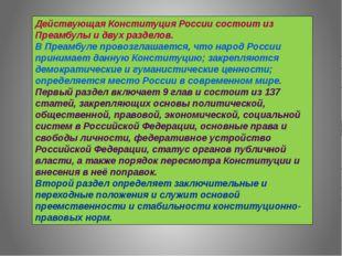 Действующая Конституция России состоит из Преамбулы и двух разделов. В Преамб