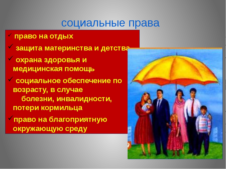 социальные права право на отдых защита материнства и детства охрана здоровья...
