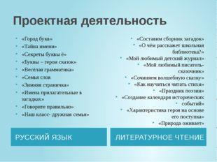 Проектная деятельность РУССКИЙ ЯЗЫК ЛИТЕРАТУРНОЕ ЧТЕНИЕ «Город букв» «Тайна и
