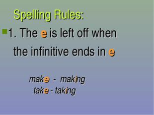 Spelling Rules: 1. The e is left off when the infinitive ends in e make - ma