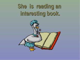 She is reading an interesting book.
