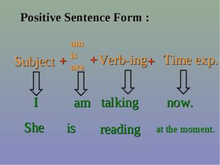 Positive Sentence Form : Subject + am is are + Verb-ing + Time exp. I am talk