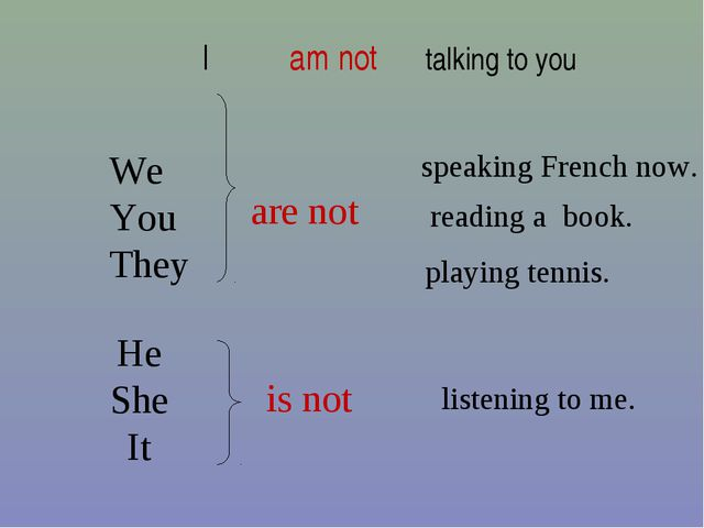 are not is not speaking French now. listening to me. playing tennis. reading...