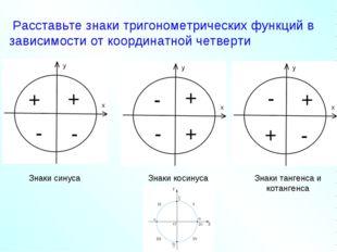 Расставьте знаки тригонометрических функций в зависимости от координатной че