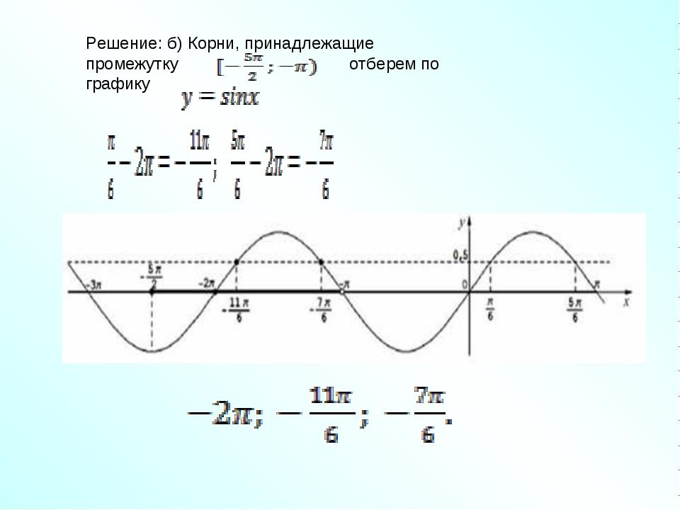 Решение: б) Корни, принадлежащие промежутку отберем по графику