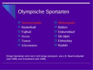 Olympische Sportarten Sommerspiele Basketball Fuβball Boxen Turnen Schwimmen
