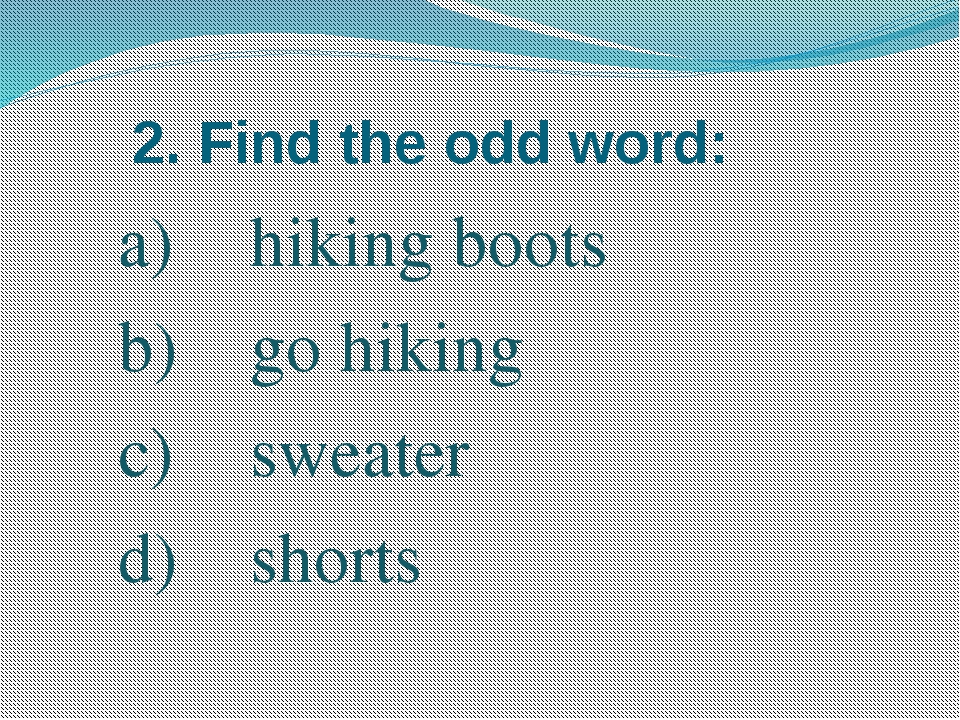 2. Find the odd word: hiking boots go hiking sweater shorts