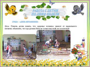 Цель: Помочь детям понять, что здоровье человека зависит от правильного питан
