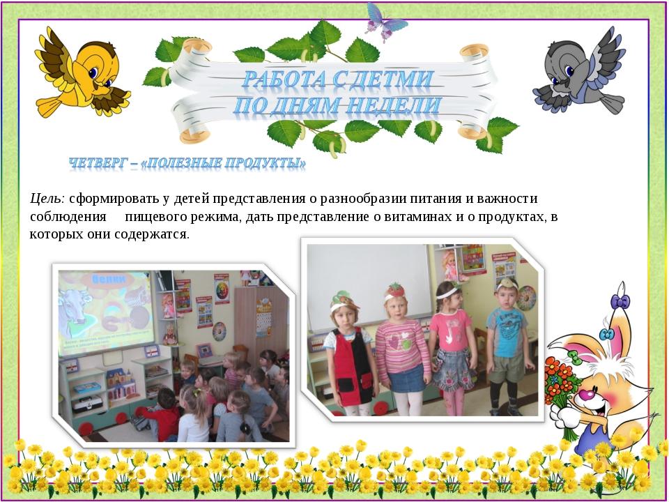 Цель: сформировать у детей представления о разнообразии питания и важности со...