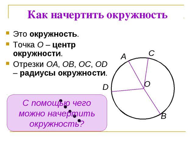 Как начертить окружность Это окружность. Точка О – центр окружности. Отрезки...