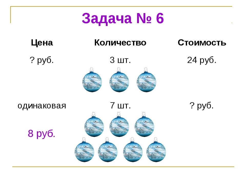 Задача № 6 8 руб. ЦенаКоличествоСтоимость ? руб.3 шт.24 руб. одинаковая7...