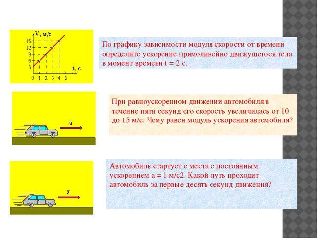 По графику зависимости модуля скорости от времени определите ускорение прямол...