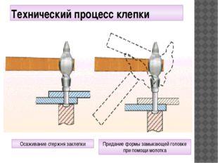 Технический процесс клепки Осаживание стержня заклепки Придание формы замыкаю