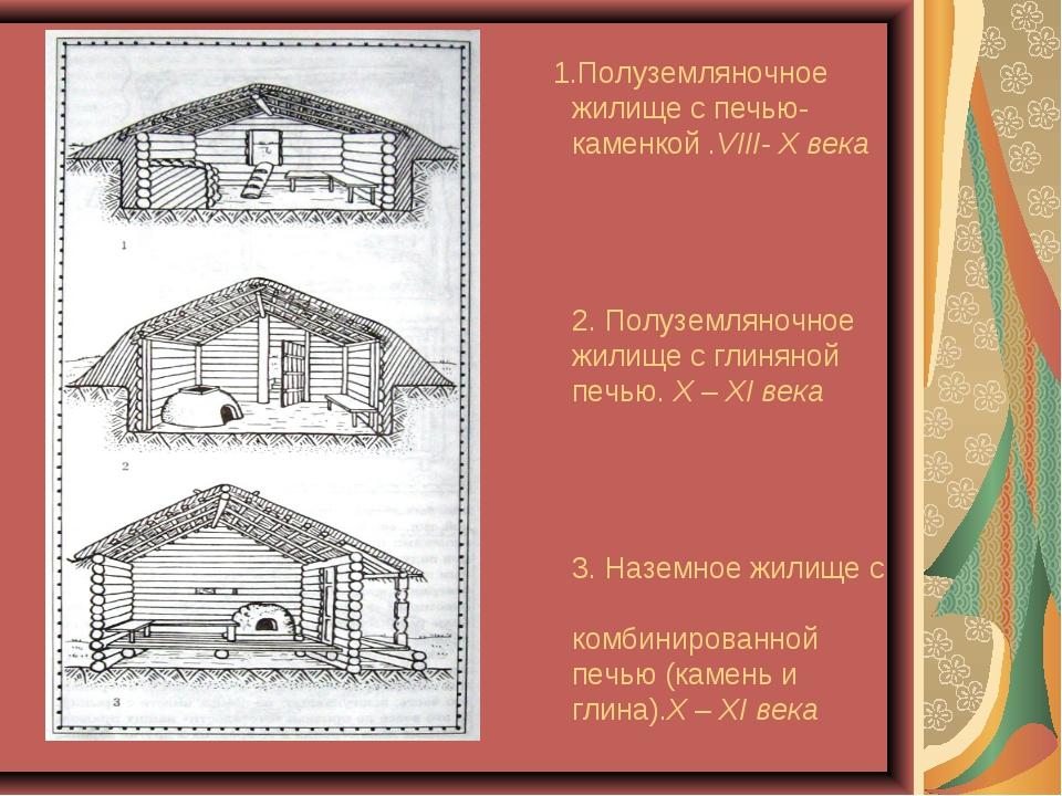 1.Полуземляночное жилище с печью-каменкой .VIII- X века 2. Полуземляночное ж...