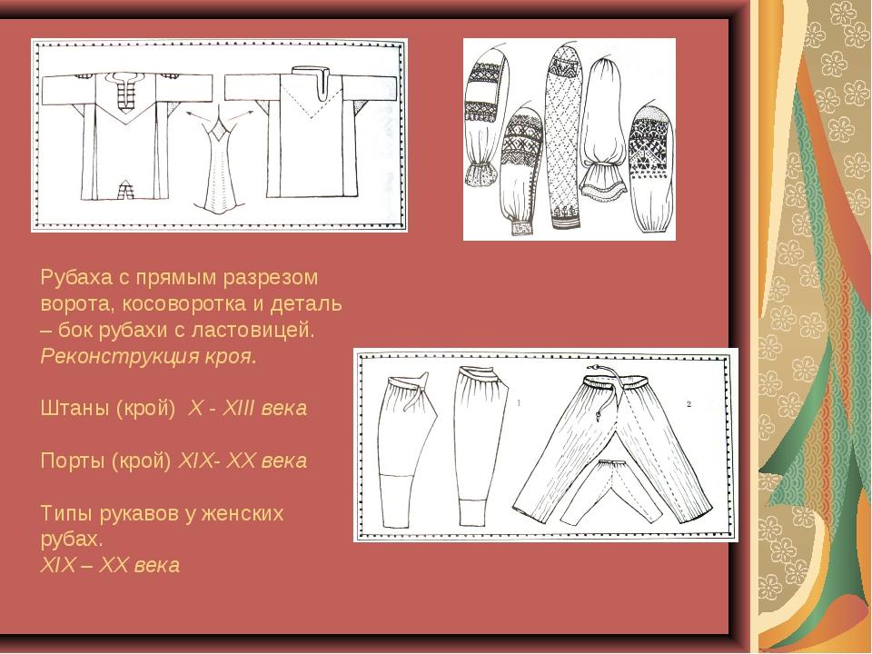 Рубаха с прямым разрезом ворота, косоворотка и деталь – бок рубахи с ластовиц...