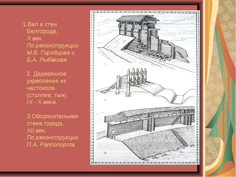 1.Вал и стен Белгорода. X век. По реконструкции М.В. Городцова и Б.А. Рыбако...