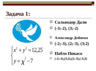 Задача 1: Сальводор Дали (-3;-2), (3;-2) Александр Дейнека (-2;-3), (2;-3), (