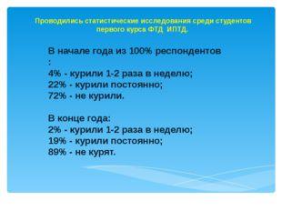 В начале года из 100% респондентов : 4% - курили 1-2 раза в неделю; 22% - кур