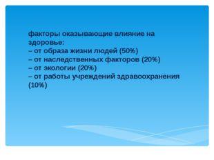 факторы оказывающие влияние на здоровье: – от образа жизни людей (50%) – от н