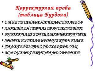 Корректурная проба (таблица Бурдона) ОМИЕПРШПАБЕНЖИКАФСПЮЛТВОФ ХЮШМЛСНГЕВЧЛЗС