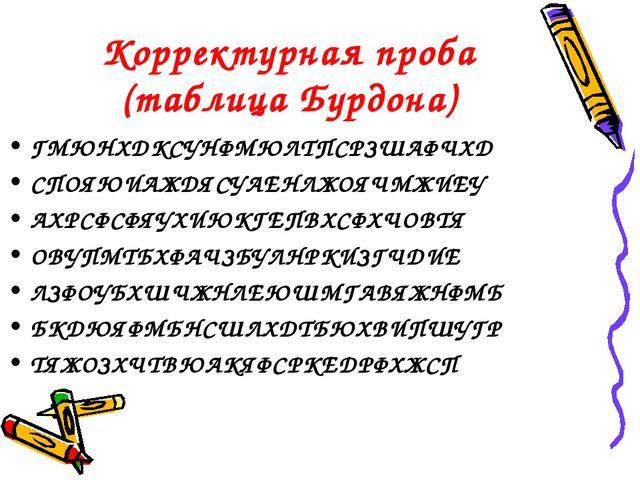 Корректурная проба (таблица Бурдона) ГМЮНХДКСУНФМЮЛТПСРЗШАФЧХД СПОЯЮИАЖДЯСУАЕ...