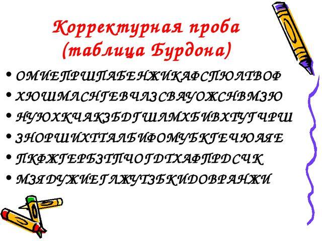 Корректурная проба (таблица Бурдона) ОМИЕПРШПАБЕНЖИКАФСПЮЛТВОФ ХЮШМЛСНГЕВЧЛЗС...