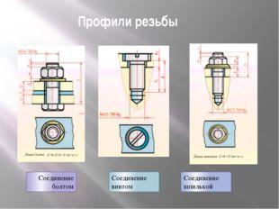 Профили резьбы Соединение болтом Соединение шпилькой Соединение винтом