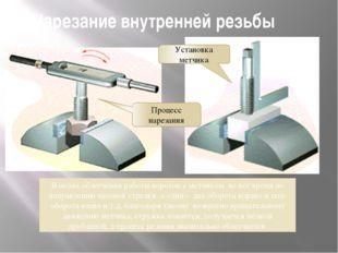 Нарезание внутренней резьбы В целях облегчения работы вороток с метчиком не в