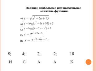 Найдите наибольшее или наименьшее значение функции: А) А) С) К) И) 9; 4; 2;