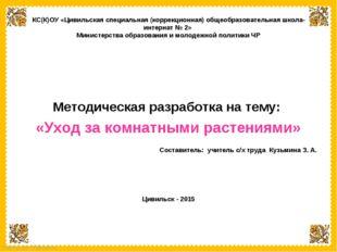 Методическая разработка на тему:  «Уход за комнатными растениями»  Составит