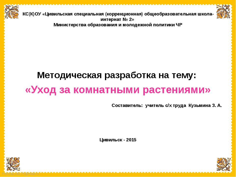 Методическая разработка на тему:  «Уход за комнатными растениями»  Составит...