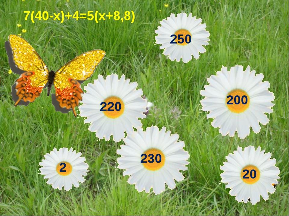 7(40-х)+4=5(х+8,8)