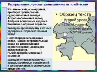 Распределите отрасли промышленности по областям 2 Механический, арматурный, п
