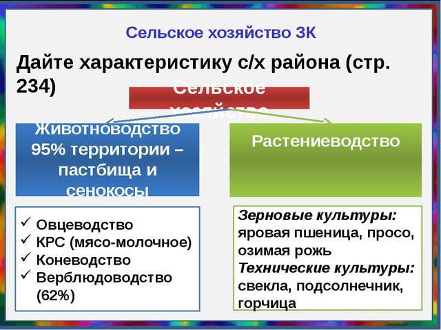 Сельское хозяйство ЗК Дайте характеристику с/х района (стр. 234) Сельское хоз...