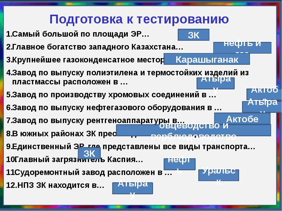 Подготовка к тестированию Самый большой по площади ЭР… Главное богатство запа...