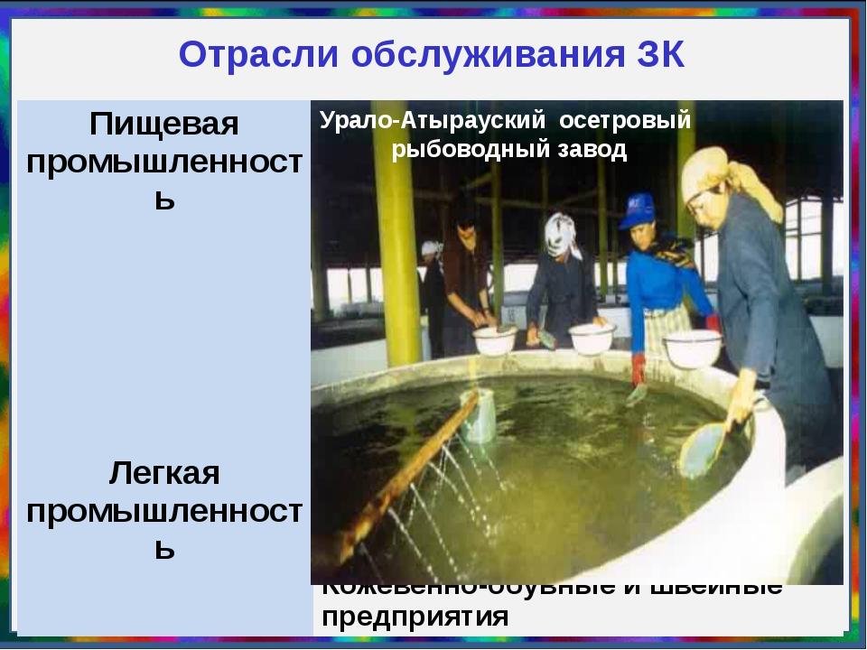 Отрасли обслуживания ЗК Урало-Атырауский осетровый рыбоводный завод Пищевая п...