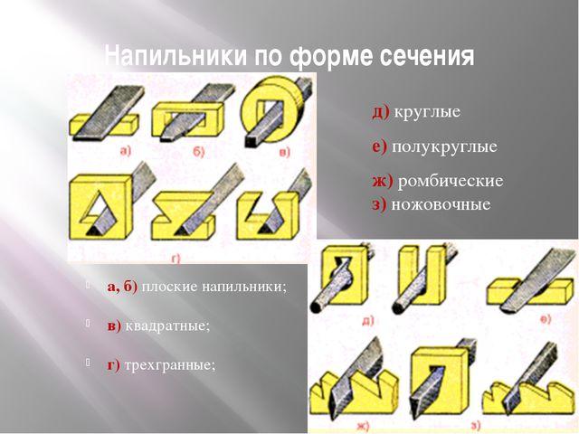 Напильники по форме сечения а, б) плоские напильники; в) квадратные; г) трехг...