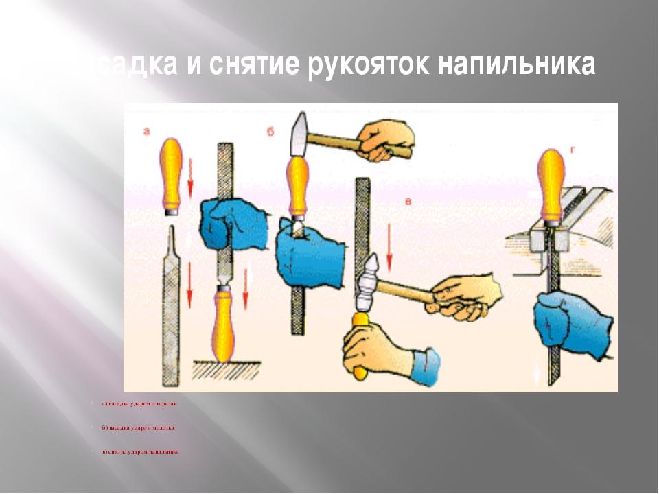 Насадка и снятие рукояток напильника а) насадка ударом о верстак б) насадка у...