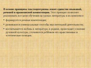 В основе принципа текстоцентризма лежит единство языковой, речевой и правопис
