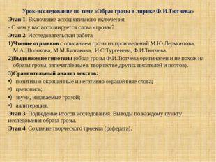 Урок-исследование по теме «Образ грозы в лирике Ф.И.Тютчева» Этап 1. Включени