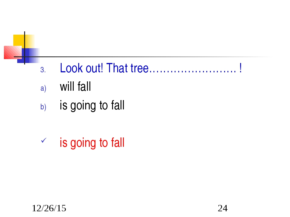 Look out! That tree……………………. ! will fall is going to fall is going to fall