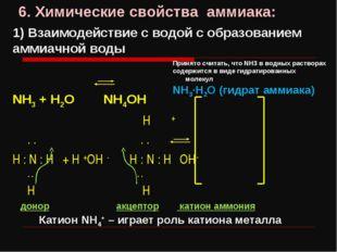6. Химические свойства аммиака: 1) Взаимодействие с водой с образованием амми