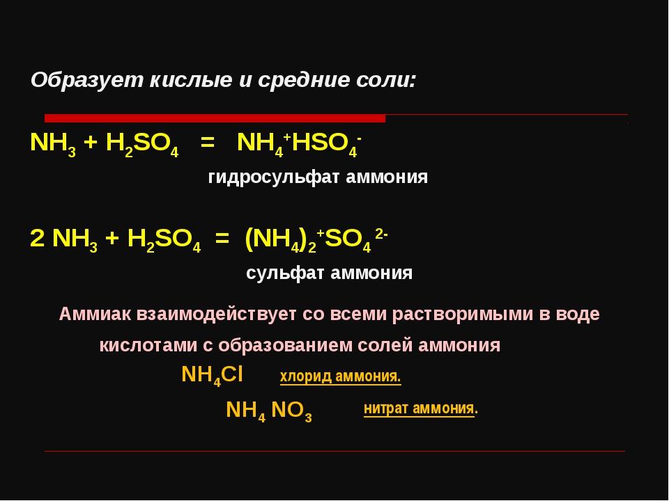 Образует кислые и средние соли: NH3 + H2SO4 = NH4+HSO4- гидросульфат аммония...