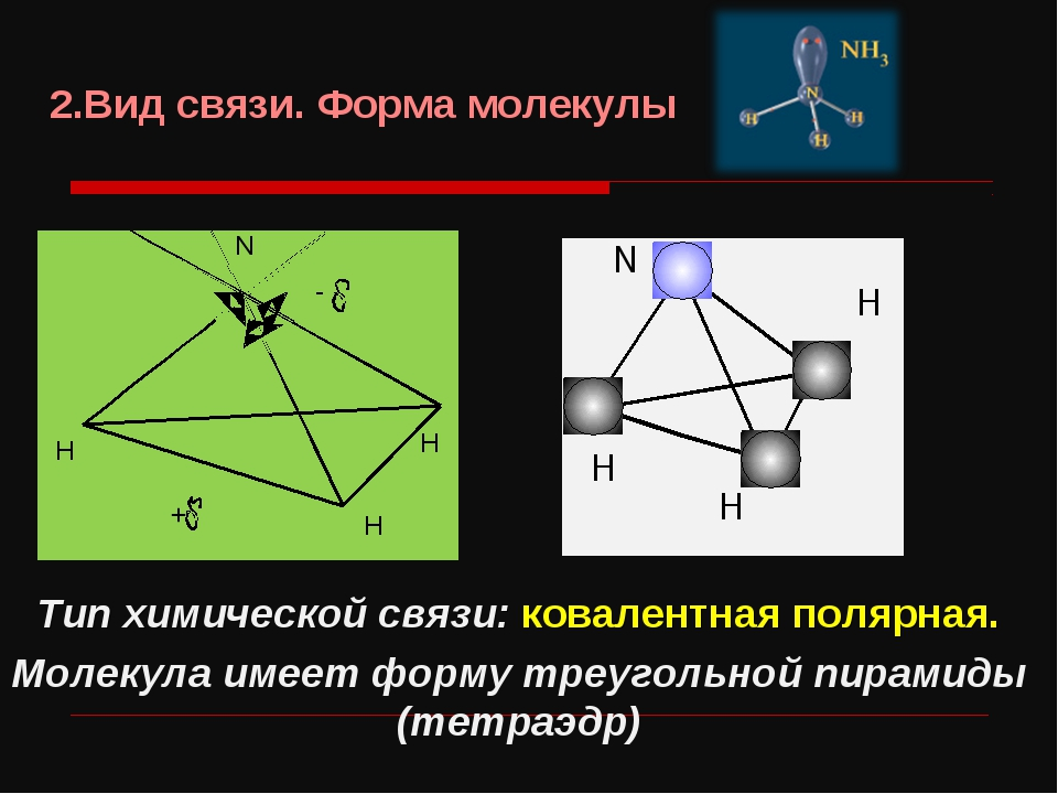 Тип химической связи: ковалентная полярная. Молекула имеет форму треугольной...