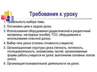 Требования к уроку 1. Правильность выбора темы. 2. Постановка цели и задачи у
