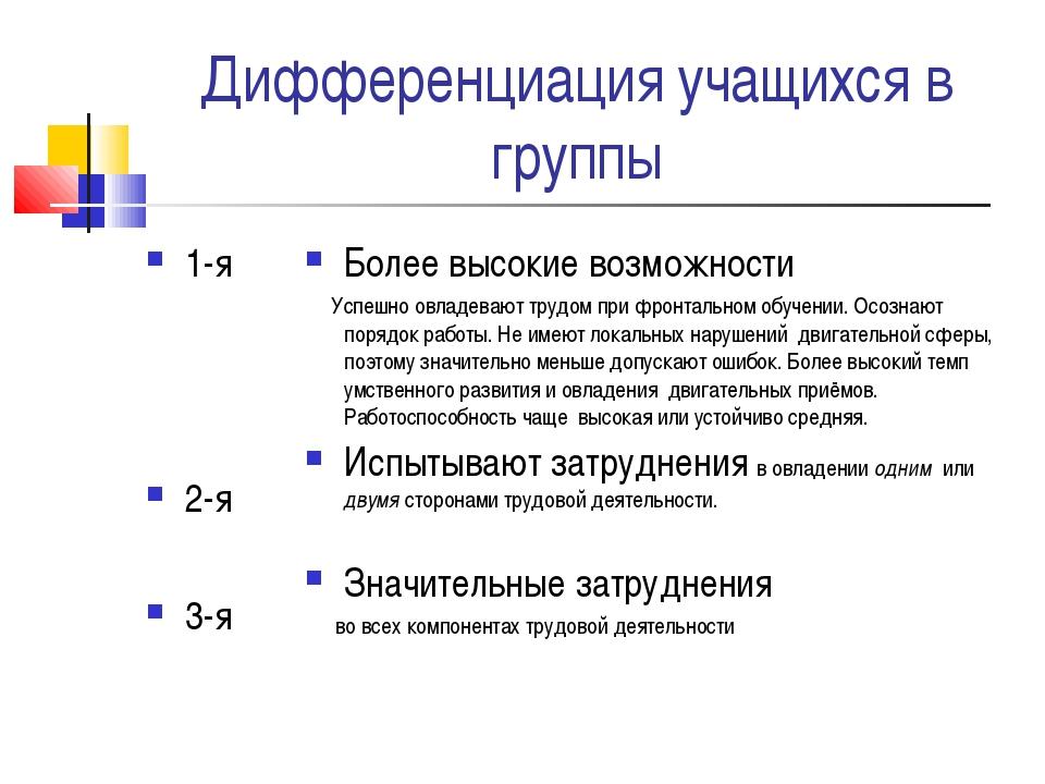 Дифференциация учащихся в группы 1-я 2-я 3-я Более высокие возможности Успешн...