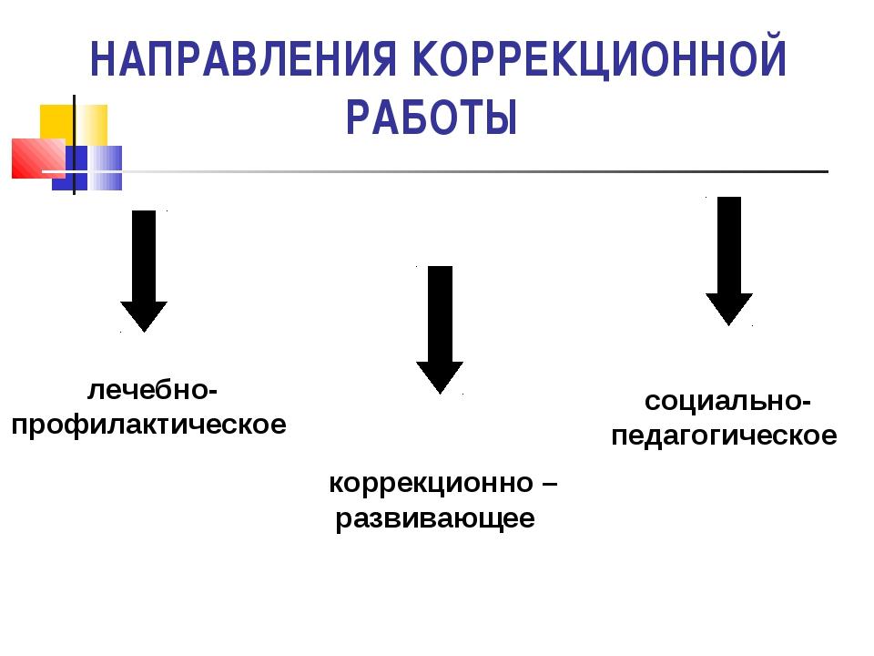 НАПРАВЛЕНИЯ КОРРЕКЦИОННОЙ РАБОТЫ лечебно- профилактическое коррекционно – раз...