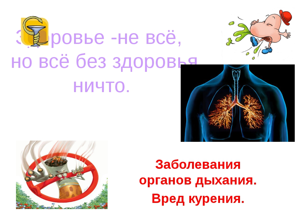 Здоровье -не всё, но всё без здоровья ничто. Заболевания органов дыхания. Вре...